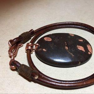 """❤️Beautiful❤️ 16"""" Jasper Leather Choker Necklace"""